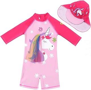Childlike Me Baby Toddler Girls Unicorn Swimsuits One Piece Swimwear Bathing Suits Rash Guard UPF 50+
