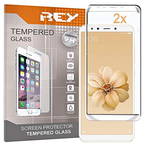 REY 2X Protector de Pantalla 3D para XIAOMI MI 6X - XIAOMI MI A2, Blanco, Protección Completa, 3D / 4D / 5D