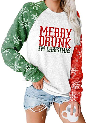 BKTOPS Women's Casual Loose Christmas Christmas Tree Merry Chirstmas Letter Pattern Long-Sleeved T-Shirt