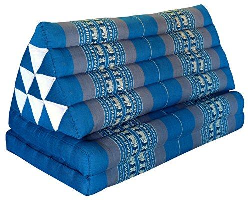 Wifash Coussin Thailandais Triangle XXL avec Assise 2 Plis, détente, Matelas, kapok, Fauteuil, canapé, Jardin, Plage Bleu/Gris avec éléphants (81717)