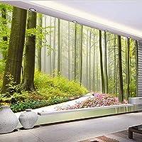 Djskhf 自然林3D壁壁画花周り道路カスタム写真壁紙リビングルーム玄関壁背景家の装飾 200X140Cm