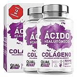 Colágeno Marino con Ácido Hialuronico180 Cápsulas| Colágeno con elastina y ácido hialurónico| Suplemento Articulaciones, Piel Huesos| QUALNAT