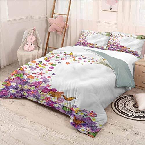 Floral Bed Sheets Set Full, Microfiber Sheet Set Flowers Watering Pot Lightweight - Full 80'x90'