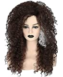 Topcosplay Womens Wig Brown Long Curly Fluffy Afro Cosplay Halloween Costume Wigs