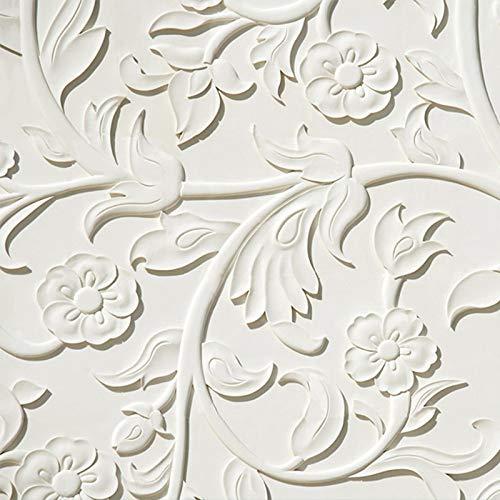 Aangepaste 4D Mural Wallpaper,Vintage Europese Stijl Stereoscopische Wit Botanische Bloem Art Print Fotobehang Grote grootte Posters Wanddecoratie Voor Woonkamer Sofa Tv Achtergrond Muur Slaapkamer Corridor 24in×48in 60cm(H)×120cm(W)