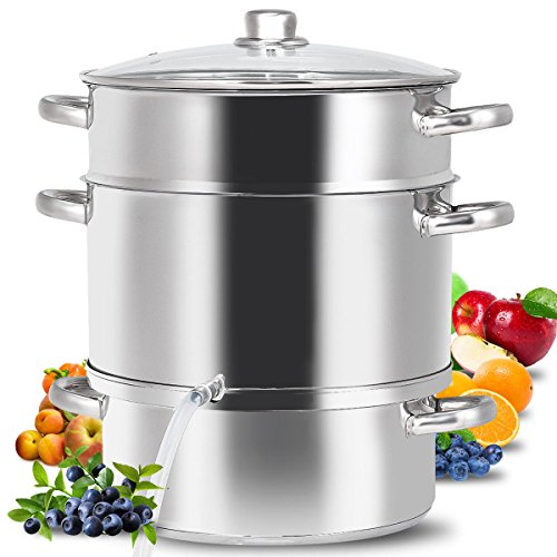 Stainless Steel Fruit Juicer Steamer Stove Top With Tempered Glass Lid 11 Quart