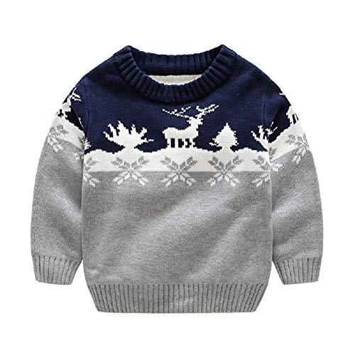 G-Kids Kinder Jungen Strickjacke Strickpullover Baby Weihnachten Elch Langram Rundals Cardigan Sweatshirt Pulli Grau 100