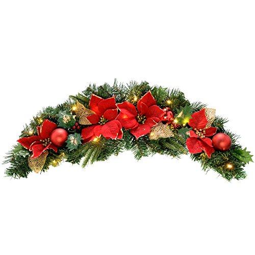 WeRChristmas 90 cm décoré Arche Lumineuse Guirlande de Noël illuminé avec 20 LED Blanc Chaud, Rouge/Or