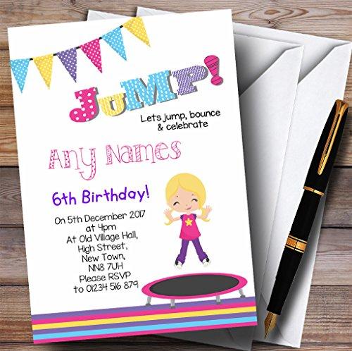 Kinderfeestje nodigt blond meisje Trampoline kinderen verjaardag partij uitnodigingen met enveloppen - elke aangepaste tekst voor elke gelegenheid 20 Cards & Envelopes