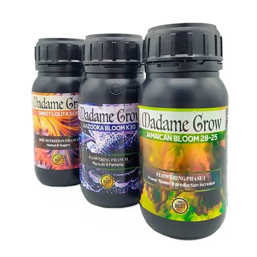 MADAME GROW Kit Red Anvil MG - Concimi Organici per Piante Terapeutiche - Fioritura, Ingrasso ed Energia - Piatti Forti - Raccolti Abbondanti (3 x 250 ml)