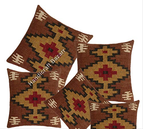 Handicraft Bazarr Amazon - Juego de 5 fundas de cojín para sofá, diseño vintage de lana de arpillera, decoración rústica Kilim
