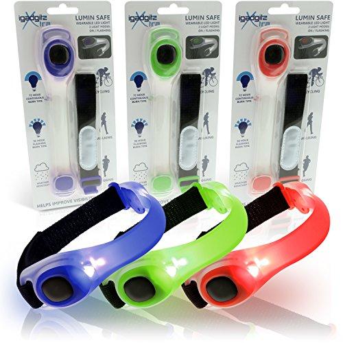 igadgitz Xtra Lumin Safe Riflettenti Hi Vis Fascia da Braccio Strap Impermeabile Regolabile Silicone con Lampeggiante del LED per Jogging, Escursioni in Bicicletta, a Piedi & Altro - (Multipack - Rosso, Blu, Verde)