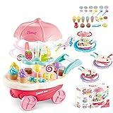Foxom 30 unidades de carrito de helado para niñas, juguete educativo con música y luz, pasteles, helados para niños, juguete giratorio