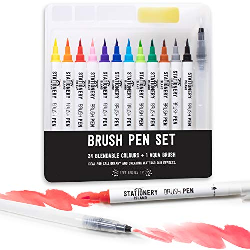 Stationery Island Pinselstifte 12 Farben + 1 Wasserpinsel - Wiederauffüllbare Aquarell Brush Pens Mit Echter Pinselspitze. Für Kalligraphie, Beschriftung, Bullet Journal, Zeichnen & Farbgestaltung