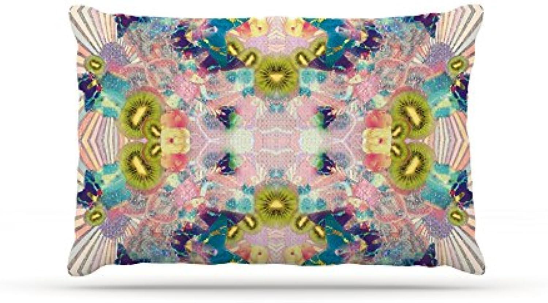 Kess InHouse Danii Pollehn Indian Clash  Pink Multicolor Fleece Dog Bed, 30 by 40