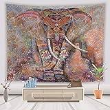 Lihan Tapicería Diseñador Indian Elefante Hippie Mandala de Pared Tapiz Estampado Floral Decoración de la Naturaleza del Hogar para Grande Picnic Mantel, Elefante 5 150 * 200cm/59 * 79inch