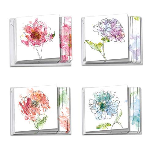 Basic Blooms - 12 Blank Watercolor Flower Note Cards with Envelopes (4 x 5.12 Inch) - Assorted All Occasion Floral Greetings - Colorful Boxed Notecard Set (3 Each, 4 Designs) MQ4627OCB-B3x4