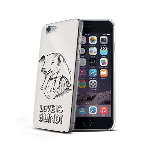 Celly Cover Love Is Blind per iPhone 6, Maialino, Bianco