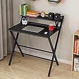 DLHXD Tische Klapptisch für kleinen Raum 2 Ebenen Computertisch mit Regal, Home Office mit Metallbeinen (Farbe: T4)