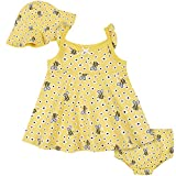 Gerber Baby Girls' 3-Piece Sundress, Diaper Cover and Hat Set, Yellow Bee, 18 Months