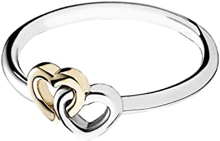 Pandora Women's Sterling Silver and 14ct Gold Ring - Size US 7.5-8