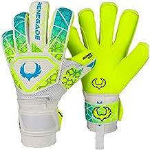 Renegade GK Vortex Wraith Goalie Gloves | 3.5+3mm Hyper Grip & 4mm Duratek | Neon Yellow & Blue Soccer Goalkeeper Gloves (Size 8, Youth-Adult, Roll Hybrid Cut, Level 3)