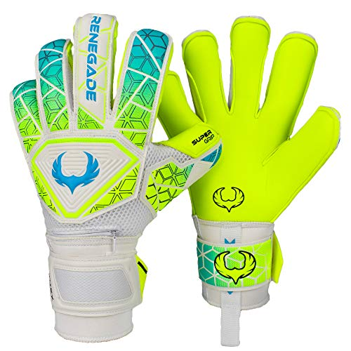 Renegade GK Vortex Wraith Goalie Gloves | 3.5+3mm Hyper Grip & 4mm Duratek | Neon Yellow & Blue Soccer Goalkeeper Gloves (Size 8, Youth-Adult, Roll Hybrid Cut, Level 3)
