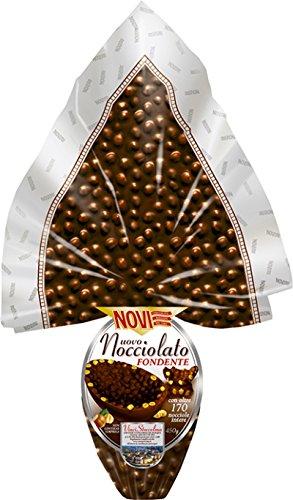 Uovo Pasqua FONDENTE NOVI da GR 450 - cioccolato FONDENTE con nocciole intere 38% di nocciole