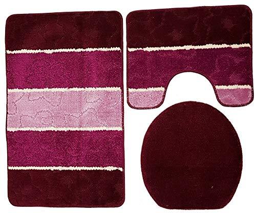 Orion Badgarnitur 3 TLG. Set 50x80 cm Mehrfarbig gestreift, WC Vorleger mit Ausschnitt für Stand-WC (Beere rosa Flieder)
