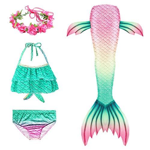D C.Supernice Cola de Sirena Niña para Nadar 3pcs Lindo Disfraz Sirena Princesa Bikini Conjunto con Diademas de Flores