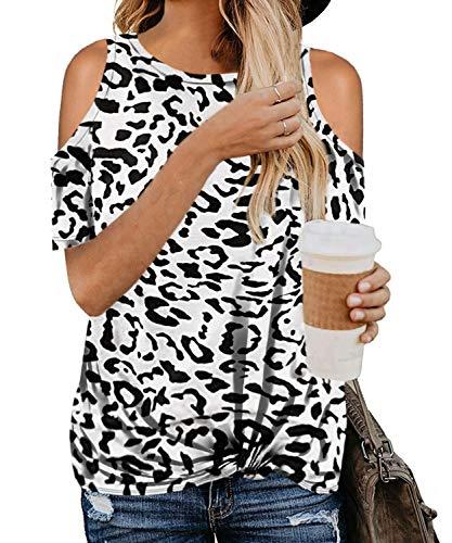 ASALWAYS dames blouse ronde hals hemd gedraaid sweatshirt luipaard print T-shirt koud schouder tuniek tops