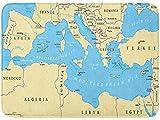 uytrgh Region Lands Mediterráneo Sur Europa Norte de África y Oriente Próximo Capitals - Felpudo Rectangular para Puerta de Entrada de Cocina o baño 15.7 x 23.5 Pulgadas