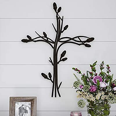Lavish Home Handmade Short Flat White Mango Wood Vase Metal Wall Cross Intertwined Vine Design-Rustic Handcrafted… - INSPIRATIONAL DESIGN- This cutout cross can enhance any living room, entryway, hallway, bedroom, kitchen, stairway and more. The beautiful details and texture of this inspirational wall art complement different décor styles from classic to rustic. HANDCRAFTED DÉCOR- Handcrafted from sturdy iron metal with a distressed finish, this decorative metal art piece has graceful openwork details. It features an intertwining vine design for added charm and style perfect for a modern farmhouse look. EASY HANGING- This elegant wall art requires no assembly and is effortless to hang in your home or office. Each piece comes with a hanger hole on the back and screws to use for wall mounting. - vases, kitchen-dining-room-decor, kitchen-dining-room - 51SseOpGYwL. SS400  -