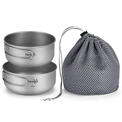 Tentock チタン 丼 ボウル キャンプ 皿 クッカーセット 500ML+600ML セット フライパン キャンピング キャンプ 調理器具
