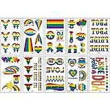 A/O 10pcs Gay Pride Rainbow Tatuaje Temporal, Arcoíris Corazón Globo Diferentes Formas de Impermeable Extraíble Cara Cuerpo Tatuaje Set para Celebraciones del Orgullo Gay