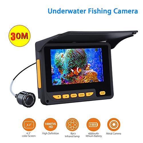 ZSHXF Portátil de 4.3inch Monitor de Pulgadas 1000TVL Equipo de Cámara de Pesca Submarina Impermeable LED Infrarrojos Buscador de Peces,Without Video