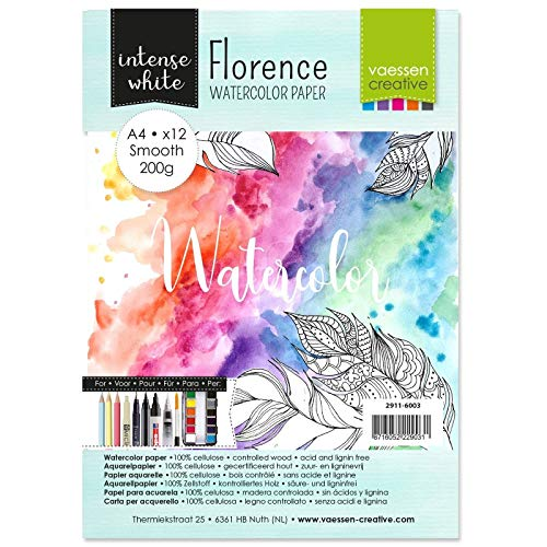 Vaessen Creative 2911-6003 Florence Aquarellpapier, A4, Weiß, 200 g/m² Glattes Papier, 12 Blatt für Aquarellmalerei, Handlettering und Brush Lettering