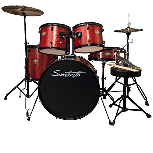 Rise by Sawtooth Student Drum Set Pack with Bonus Zildjian Planet Z Cymbals, Crimson Red Sparkle, Pack ZBT Pack (ST-RISE-DS-RS-KIT-2)