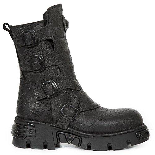 M.373X-S25 Gothic-Metal-Rock unisex barocke schwarze Stiefel mit Schnallen - 47 - New Rock