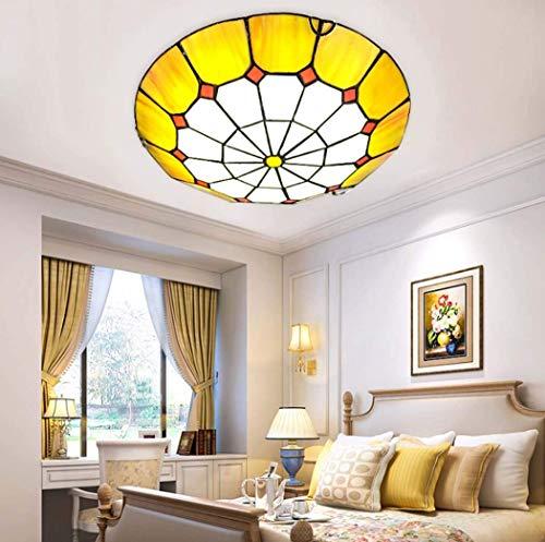 Lámpara de Techo LED de Montaje Empotrado Estilo mediterráneo Tiffany, lámpara de Techo LED Naranja con vitrales, para Dormitorio, Comedor, Pasillo, lámpara, Chip LED, 12 W / 18 W / 36 W, luz Blanca,