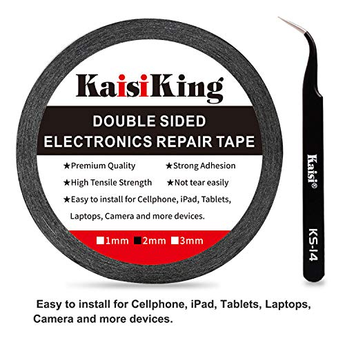 Kaisiking 2mm LCD Repair Tape Phone Repair Tape LCD Touch Screen Repair Tape Phone Screen Adhesive Tape with 1 Tweezers for Cell Phone, iPad, Tablets, Laptops, Camera