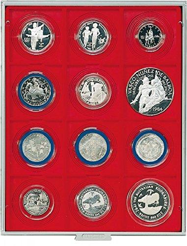 Box Monnaies Standard à 12 alvéoles carrés pour Inletts-Box Monnaies LINDNER 68x68 mm