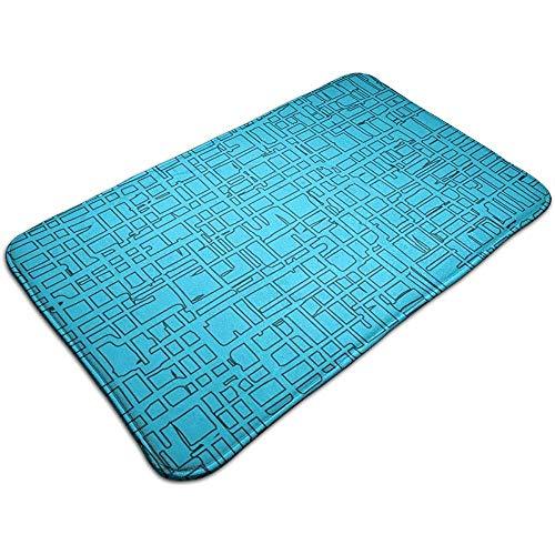 DaiMex Azul de Formas rectangulares Dibujadas a Mano Alfombrilla de Entrada Alfombrillas de Entrada con Respaldo Antideslizante, fácil Limpieza 40x60 cm
