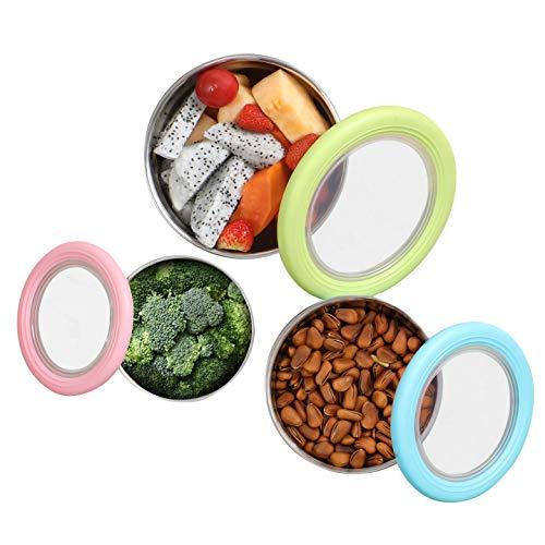 Pedeco – Set di 3 contenitori per alimenti in acciaio inox – Contenitore rotondo in acciaio inox per alimenti, capienza 113,4 g, 63,9 g, 39,2 g, verde/blu/rosa