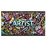 DERFV Dibujos Animados Graffiti Arte Lienzo Banner Pared Cartel Abstracto y Pintura Decorativa Impresiones Pintura de Lienzo de Arte Realista