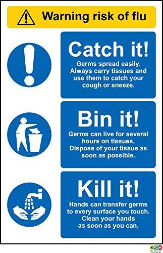Waarschuwing risico van griep teken, vangen, Bin It, Kill It - Zelfklevende sticker 300mm x 200mm