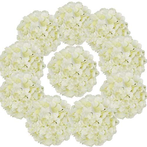 Flojery丝绸绣球Heads的人造花头与茎为家庭婚礼装饰,10片装(象牙)