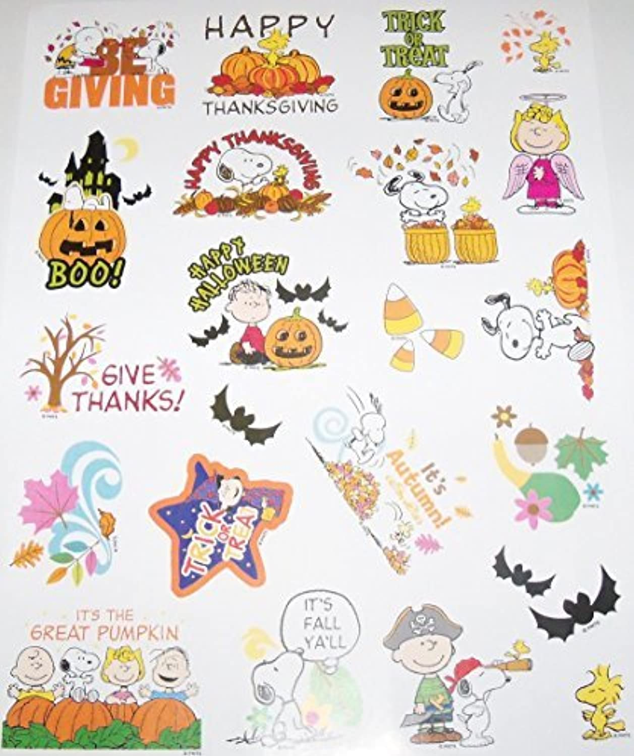 Stickers Thanksgiving & Halloween Fall, Snoopy It's Peanuts