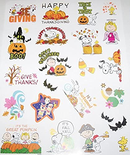 Peanuts Snoopy Fall, Halloween & Thanksgiving Stickers  It's Fall Ya'll, Angel Lucy, Be Giving  (22 Stickers; 1-1) by Current