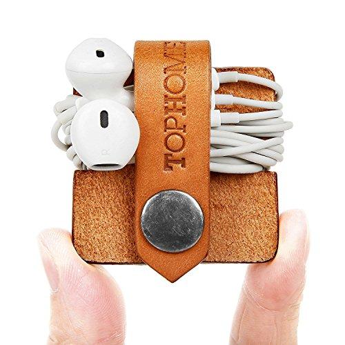TOPHOME Echtes Leder Kopfhörer Organizer Cord Organizer,Kabelklammer Organizer,Kabelhalter Ohrhörer Kopfhörer Winder Leder Handgemachtes Leder für Arbeit, Reisen(Orange)
